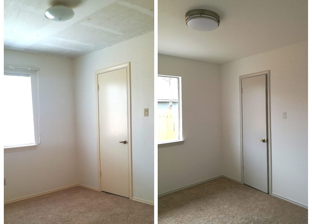 Bedroom reveal before and after from the doorway