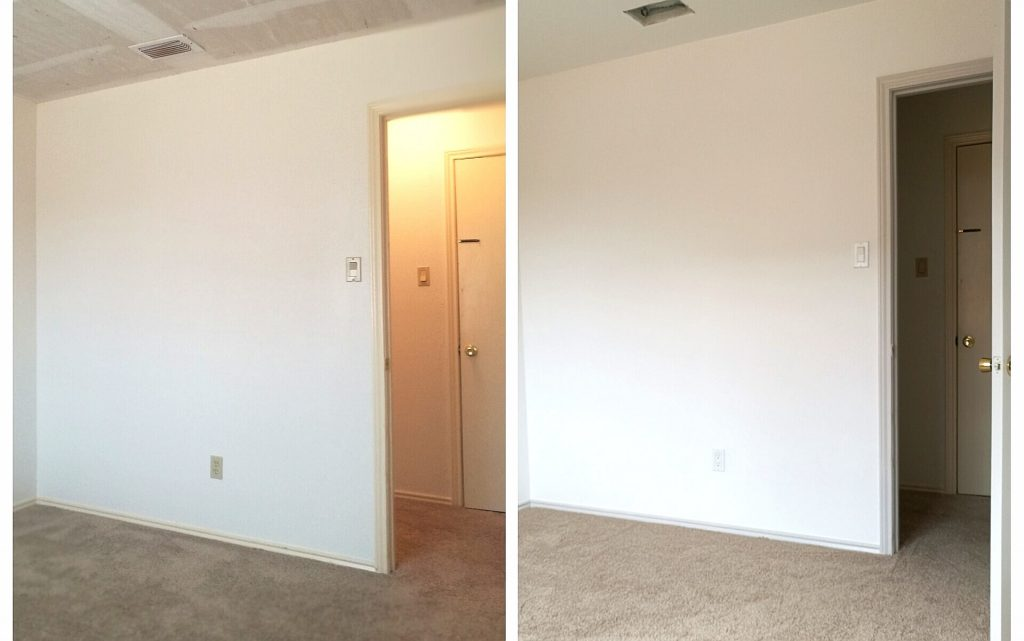 Bedroom reveal before and after facing the door