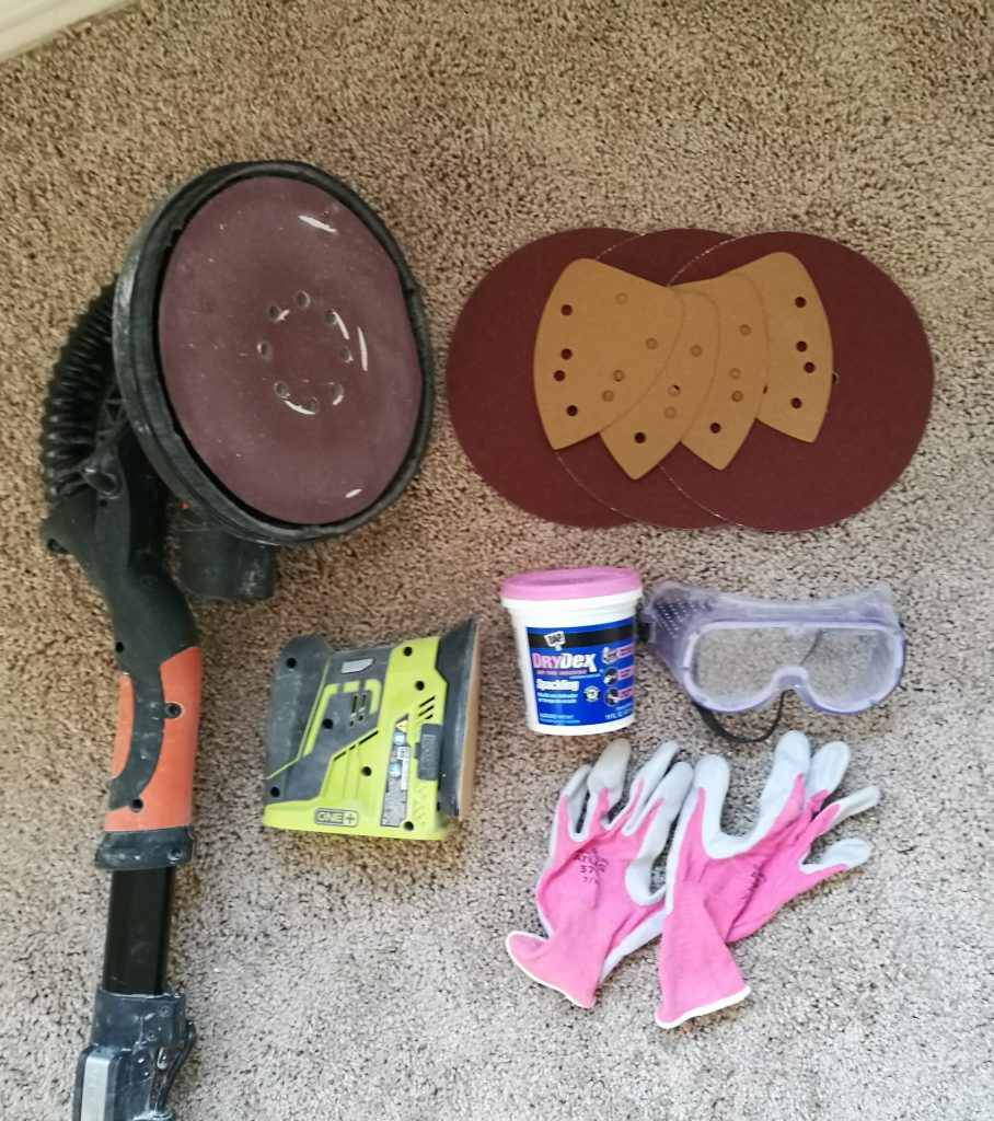 Supplies to sand down wall texture