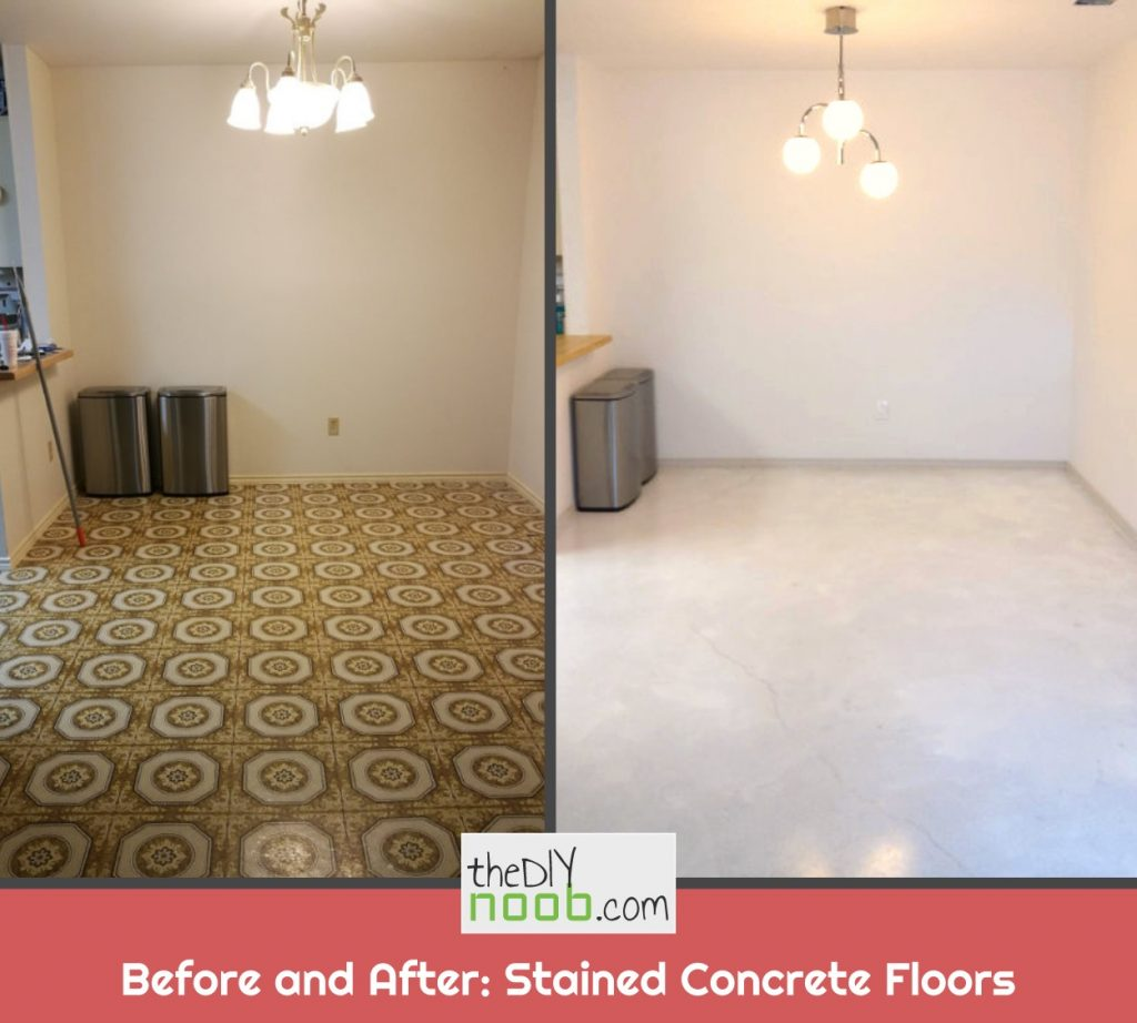 Before and after stained concrete floors